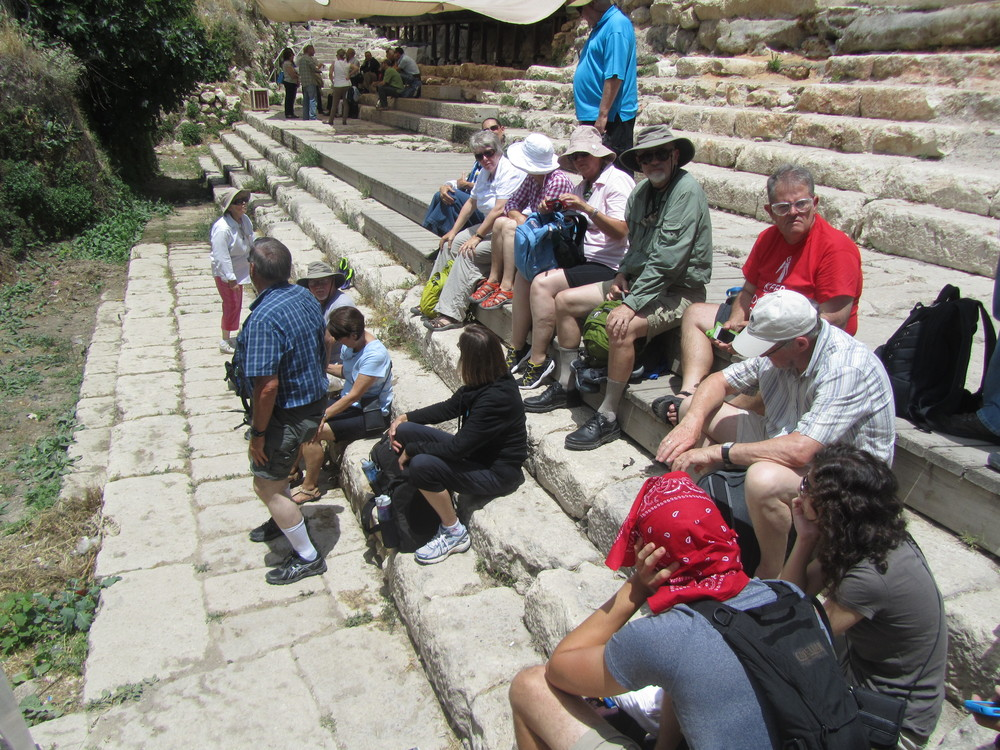 Sitting on the steps of the Herodian Pool of Siloam