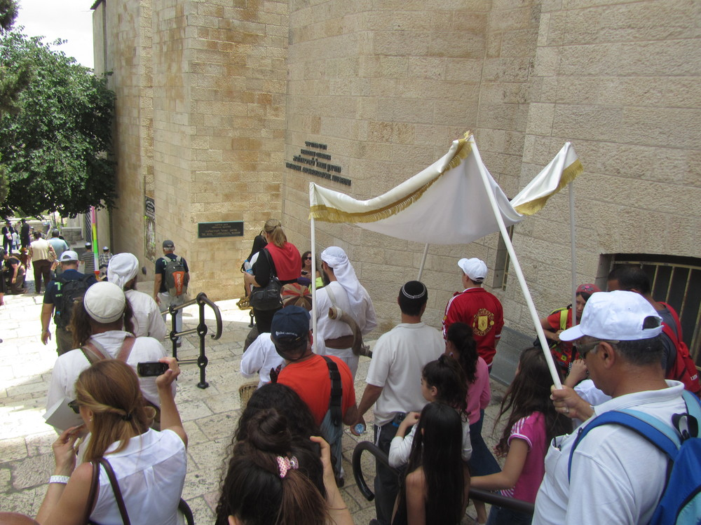 A Bar Mitzvah procession heading for the Western Wall