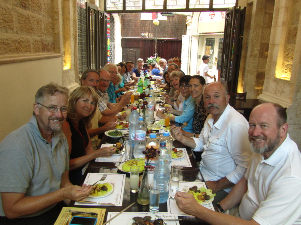 "Our ""Last Supper"" at the marvelous Versavee in the Old City, our good friend's restaurant inside Jaffa Gate"