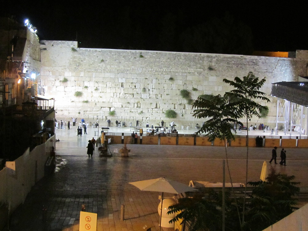 The Western Wall at about 10 PM on Shabbat