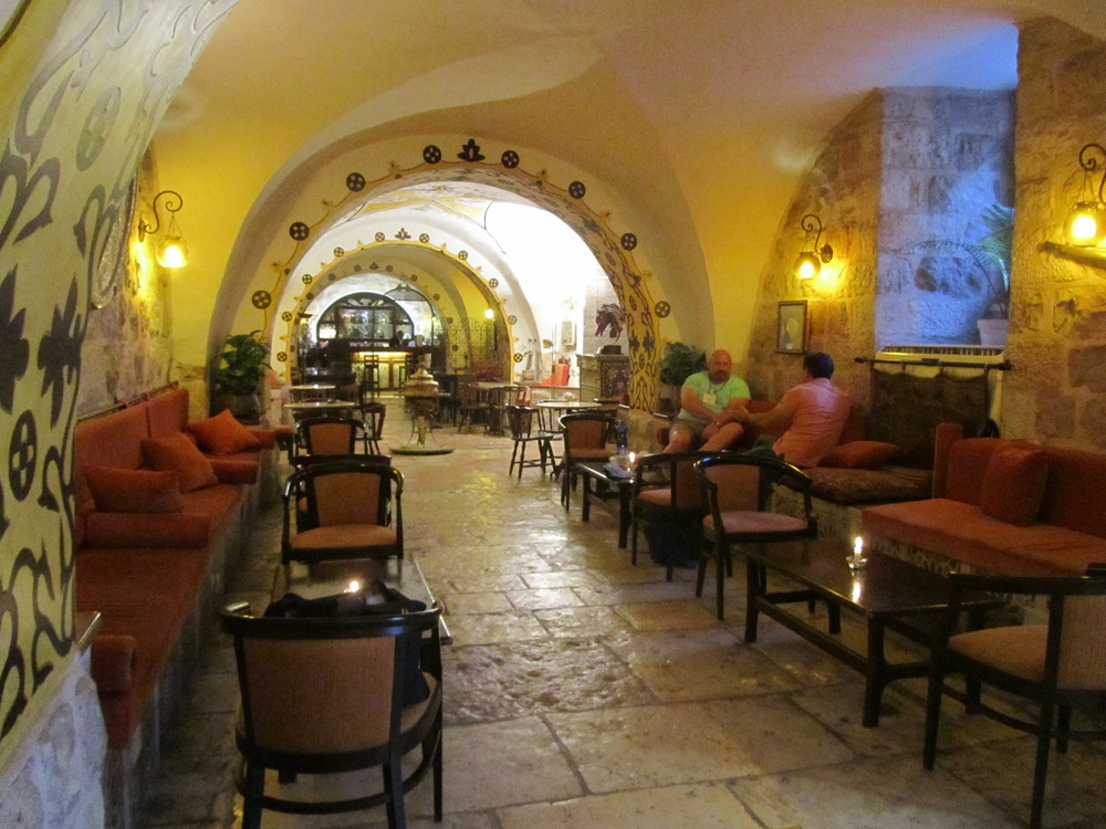 The Cozy Lounge at the Gloria Hotel in the Old City where we are staying