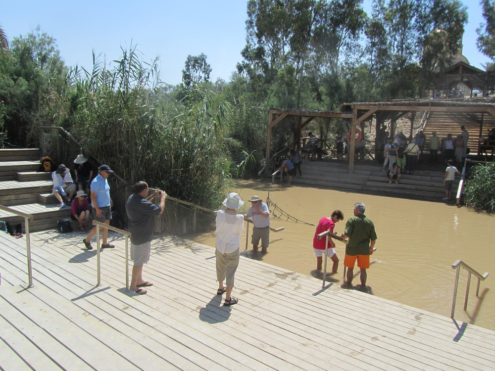 Our Group Arriving at the Traditional Site of Jesus' Baptism in the Jordan River