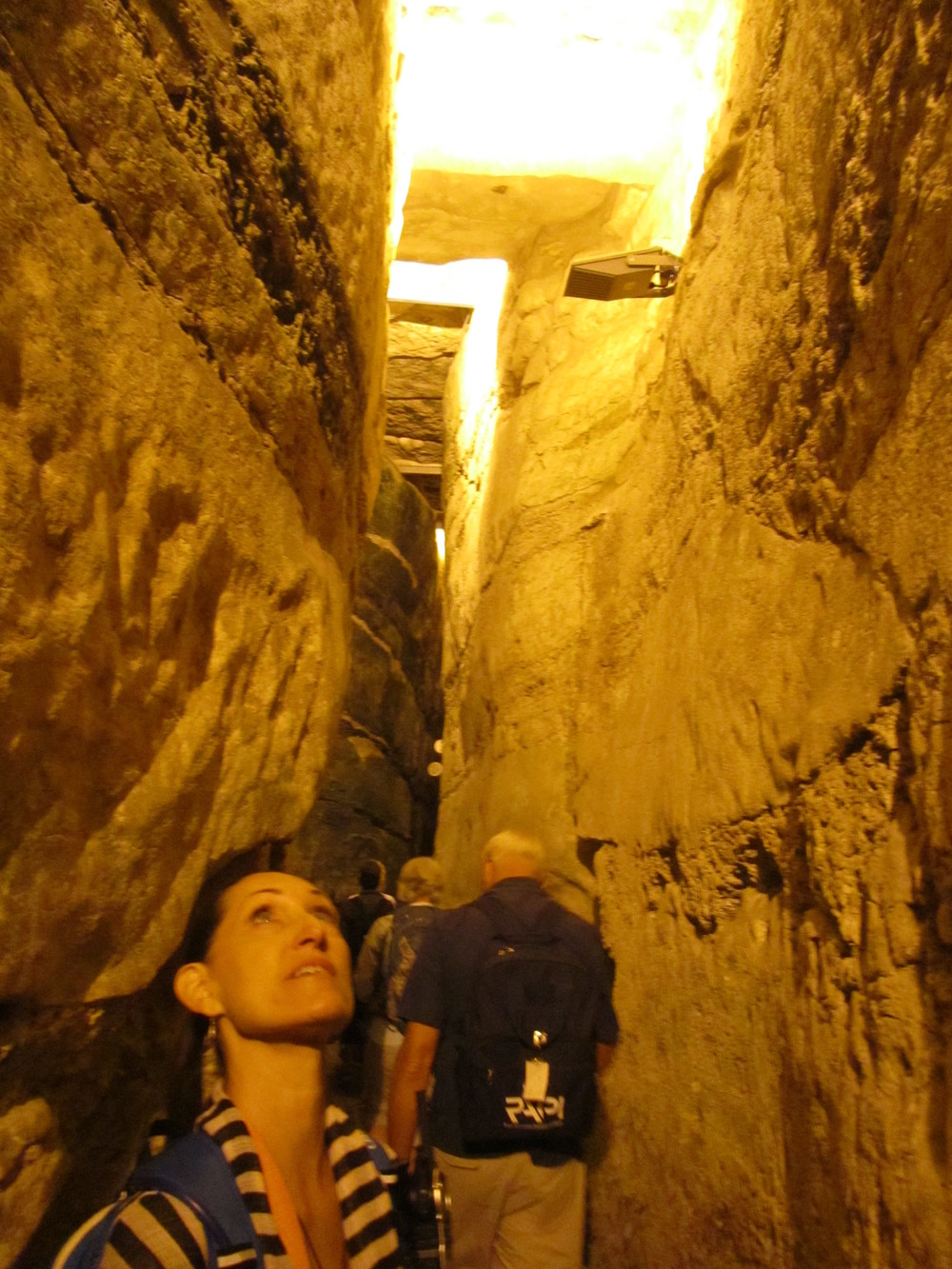 Pam Checking Out the Western Wall Tunnel