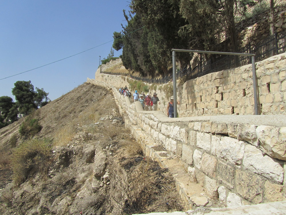 Descending from Jerusalem into the Kidron Valley