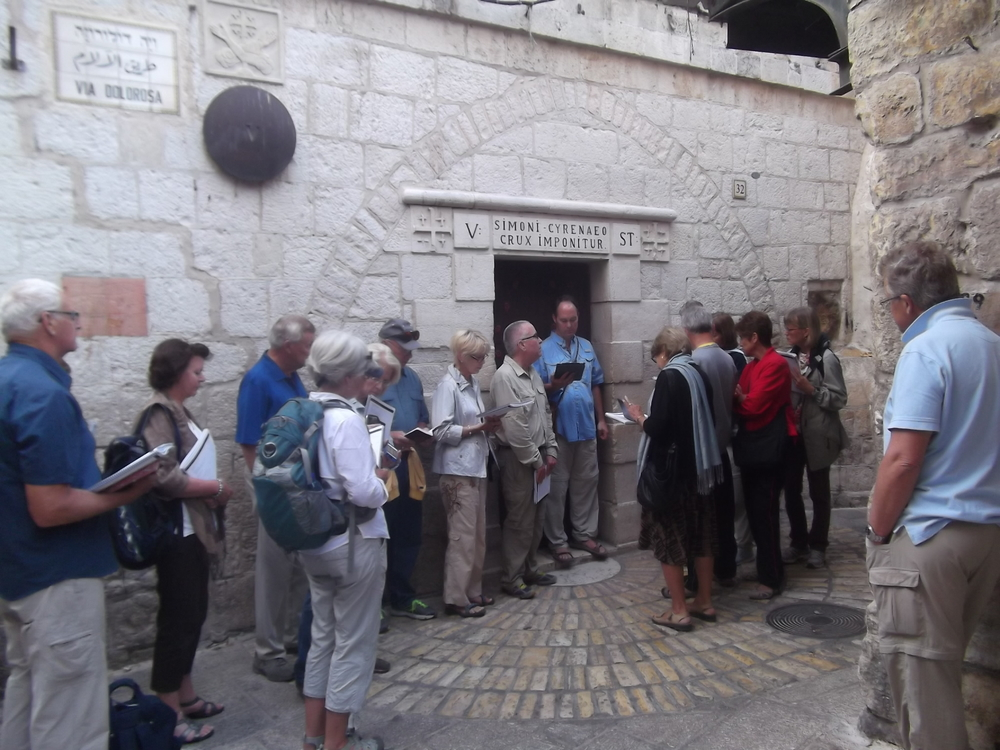 At the Fifth Station of the Cross on the Traditional Via Dolorosa