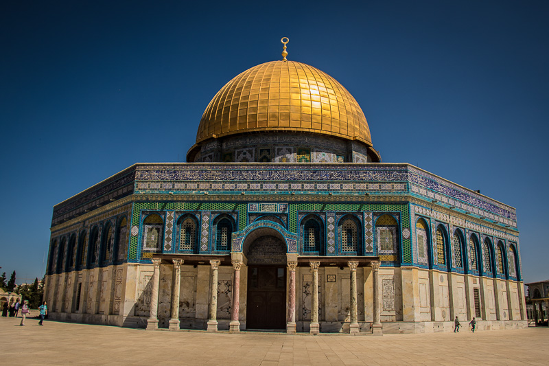 The Temple Mount today is dominated by the impressive and iconic Dome of the Rock, a Muslim mosque. It sits on the very spot where the Jewish temple was constructed and enshrines the massive rock which was the floor of the Temple's Holy of Holies.