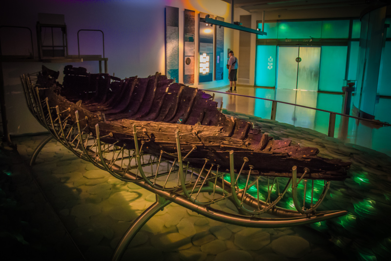 The remains of this 27 foot-long fishing boat date to precisely the time of Jesus and is exactly the type of boat that his disciples would have used to travel around the lake.