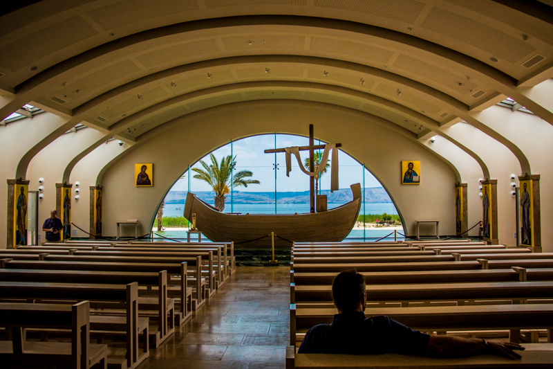 The gorgeous new church built in Magdala, honoring Mary Magdalene and the twelve disciples. The altar is a replica of a first-century fishing boat set in front of an infinity pool with the lake in the background--how cool it that?!
