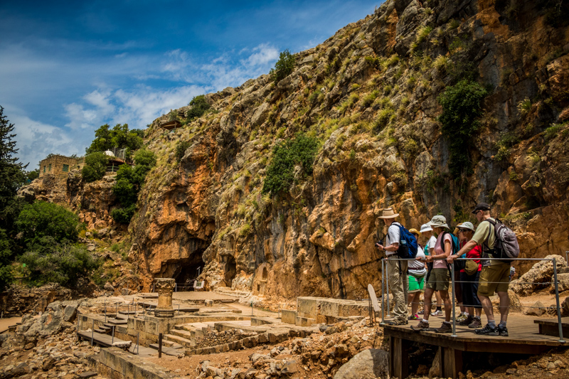 We explored the extensive remains of temples dedicated to the Roman god Pan and other pagan gods who were worship here at the cave where the spring of the Jordan River flows. Jesus and his followers probably would not have visited this hotbed of pagan revelry.