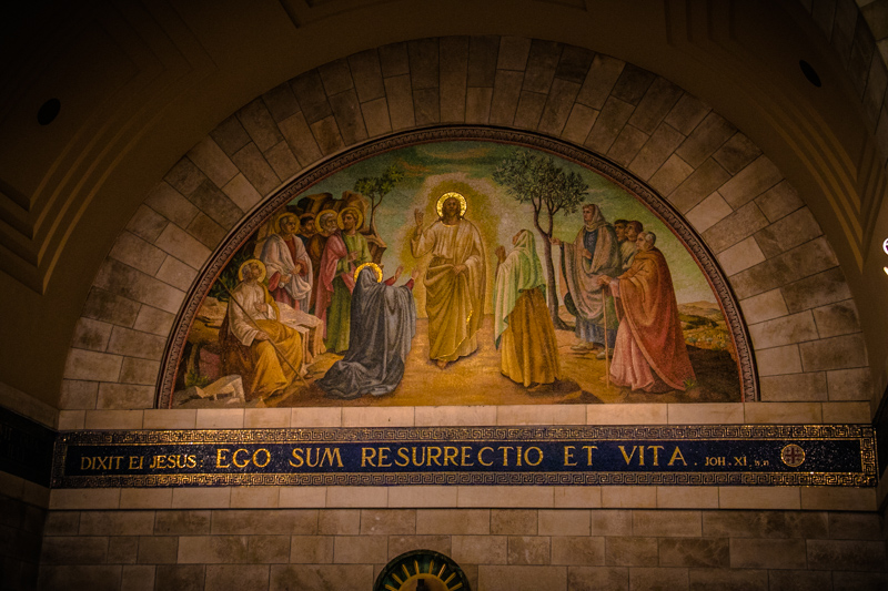 "The colorful mosaics inside the church of Lazarus in Bethany recount the amazing events that took place there, including Jesus' powerful statement, ""I am the resurrection and the life"" just before raising Lazarus from the dead!"