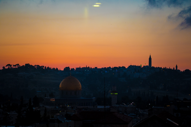 An early sunrise over the Mount of Olives and the Old City of Jerusalem.