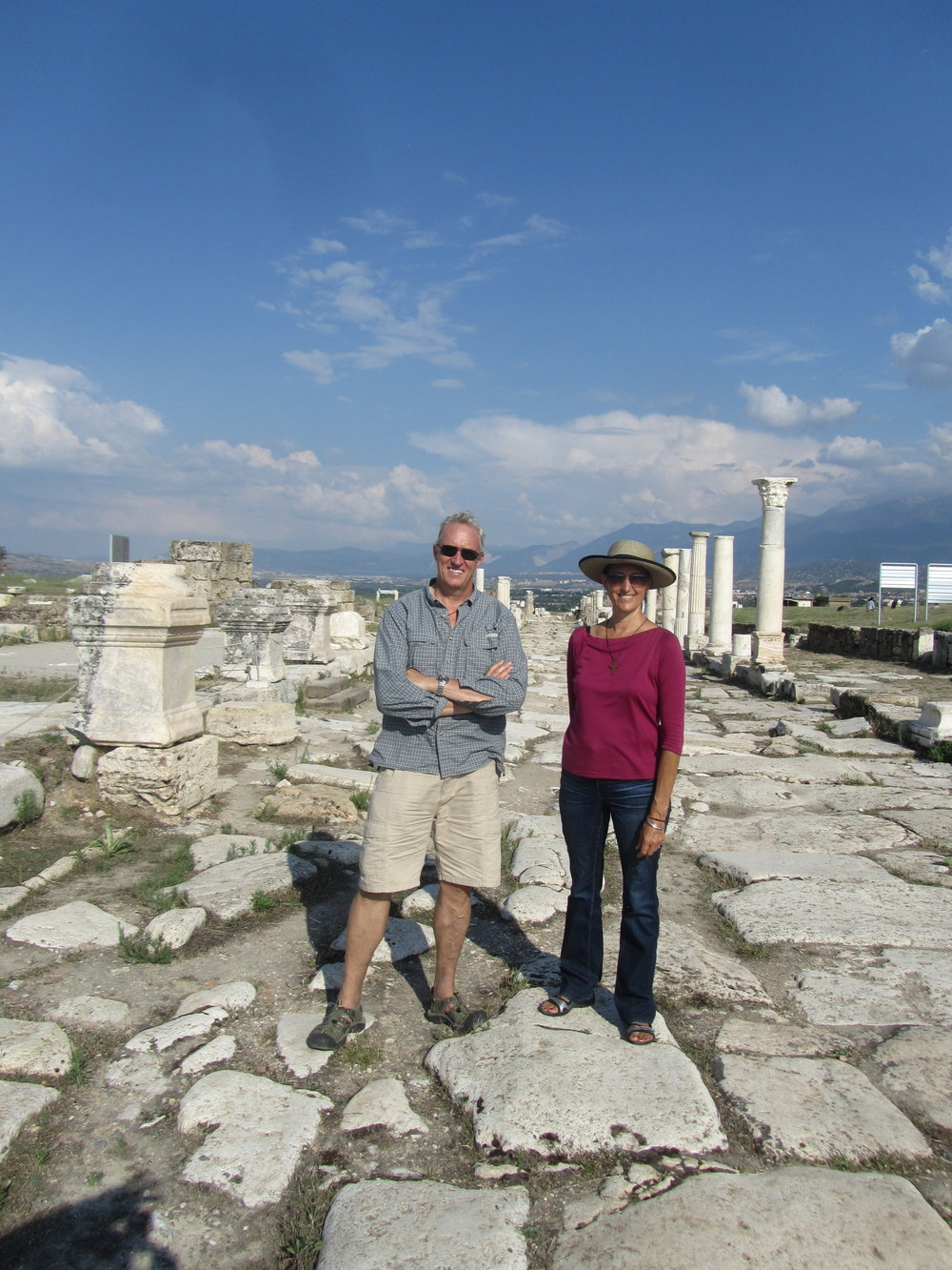 Walking on the ancient streets of Laodicea in central Turkey