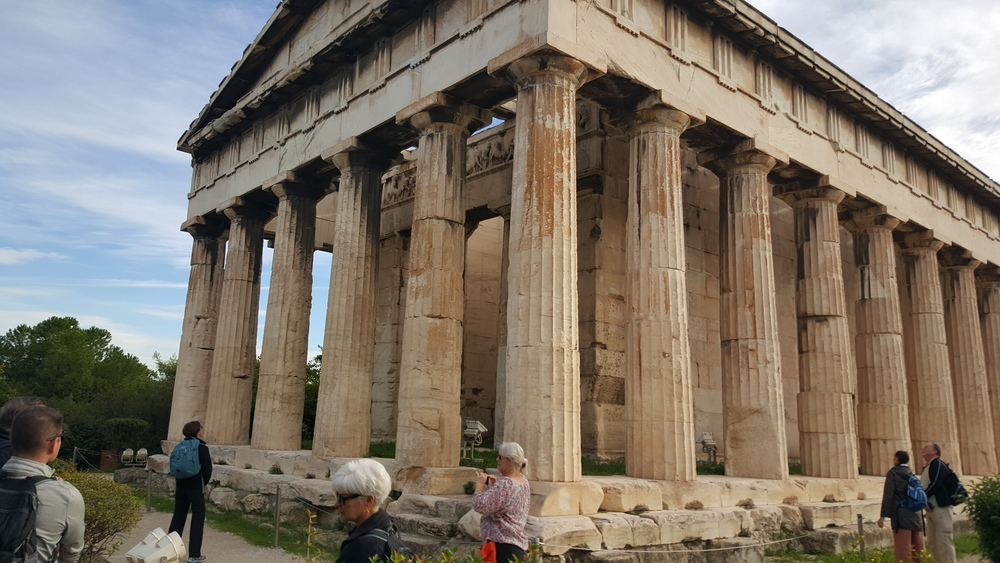 Visiting a Greek Temple in the ancient marketplace of Athens