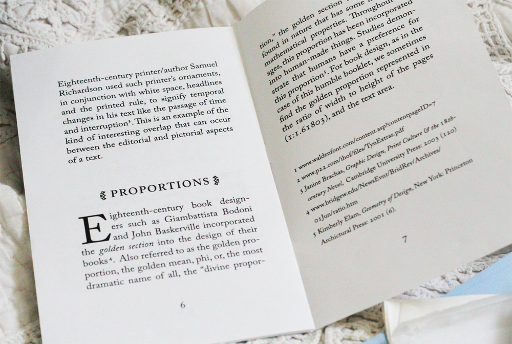 Interior spread about typography.