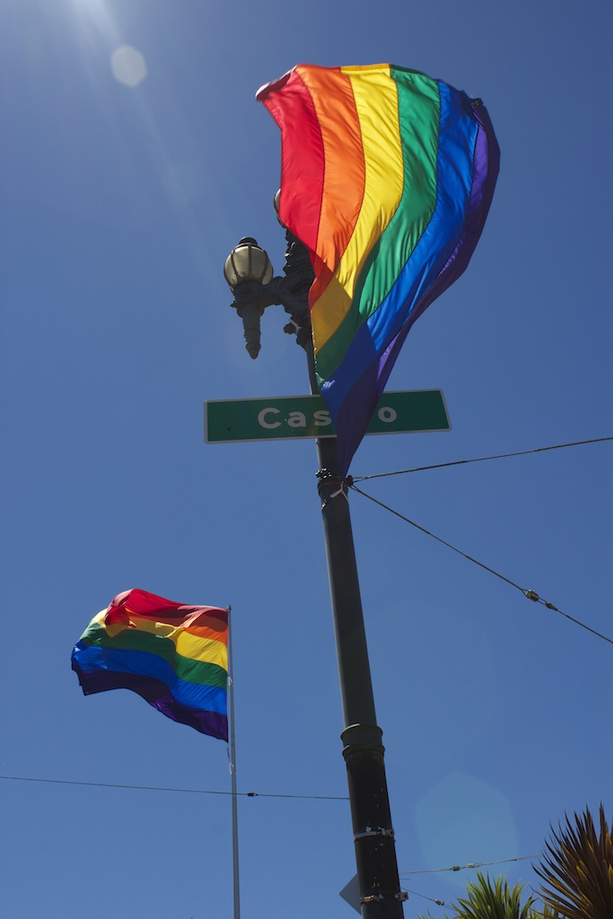 Pride flags fly over Harvey Milk Plaza on Castro & Market in San Francisco.