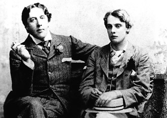 "Oscar Wilde (left) and Lord Alfred Douglas ""Bosie""."
