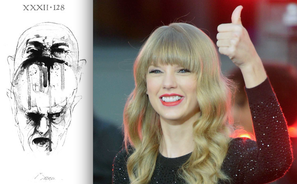 (Left) Ugolino snacking on Archbiship Ruggieri, illustration by Barry Moser. (Right) Taylor Swift.