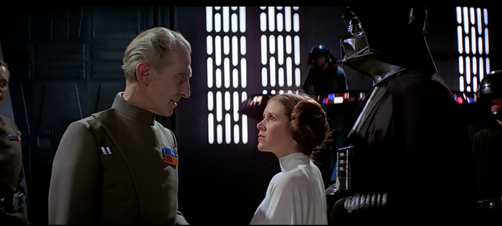 "Leia to Grand Moff Tarkin: ""The more you tighten your grip, the more star systems will slip through your fingers."""