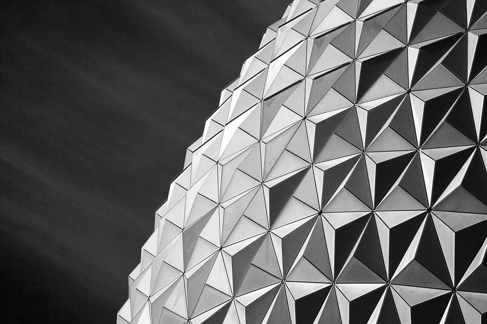 Black and White Abstract Epcot Disney World Building
