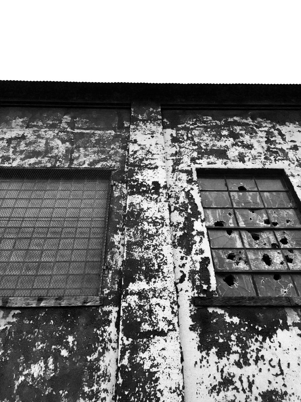 Black and White Textured Building Photograph