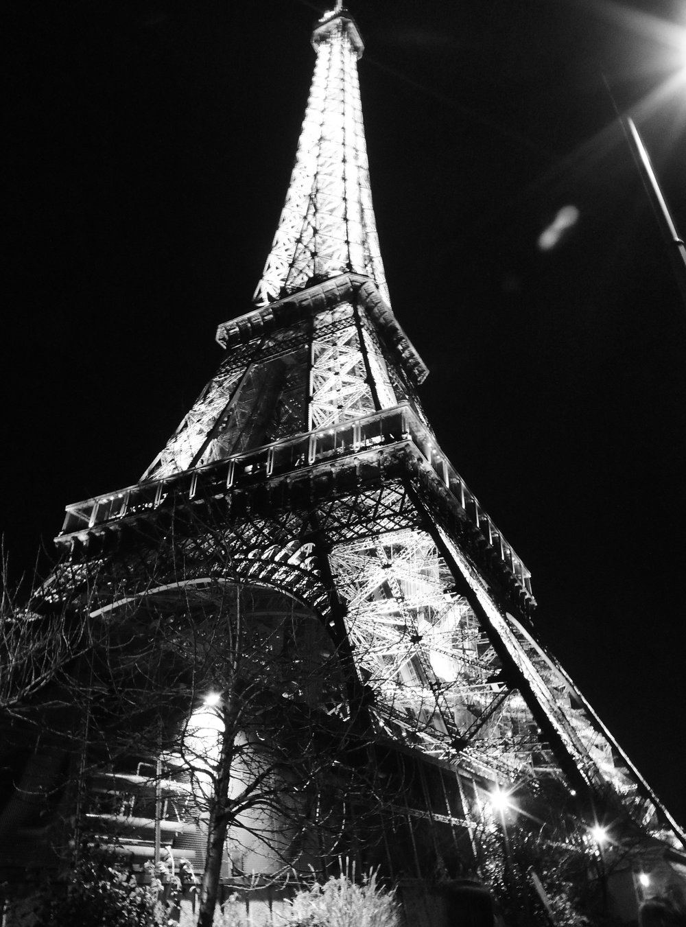 Black and White Eiffel Tower Photograph