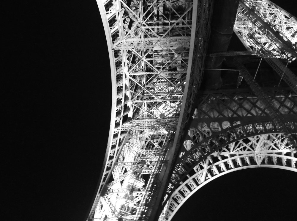 Abstract Black and White Eiffel Tower Photograph