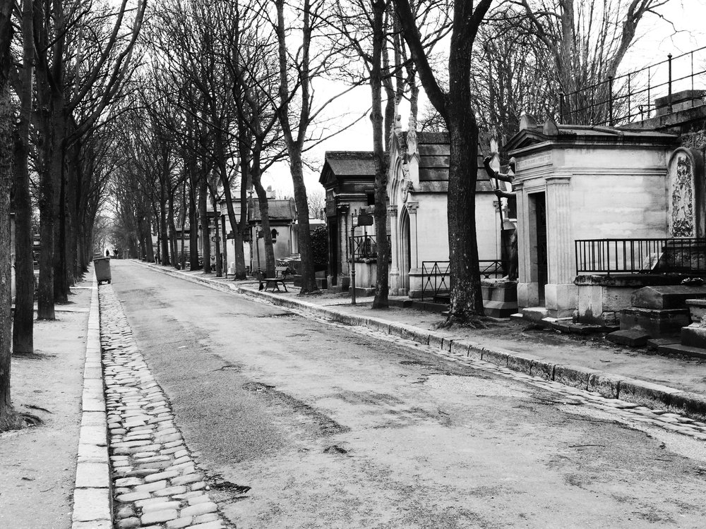 Black and White Paris Cemetery Photograph