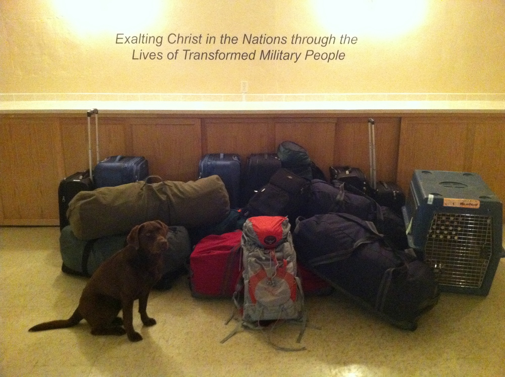 Our packed bags... and dog Piper