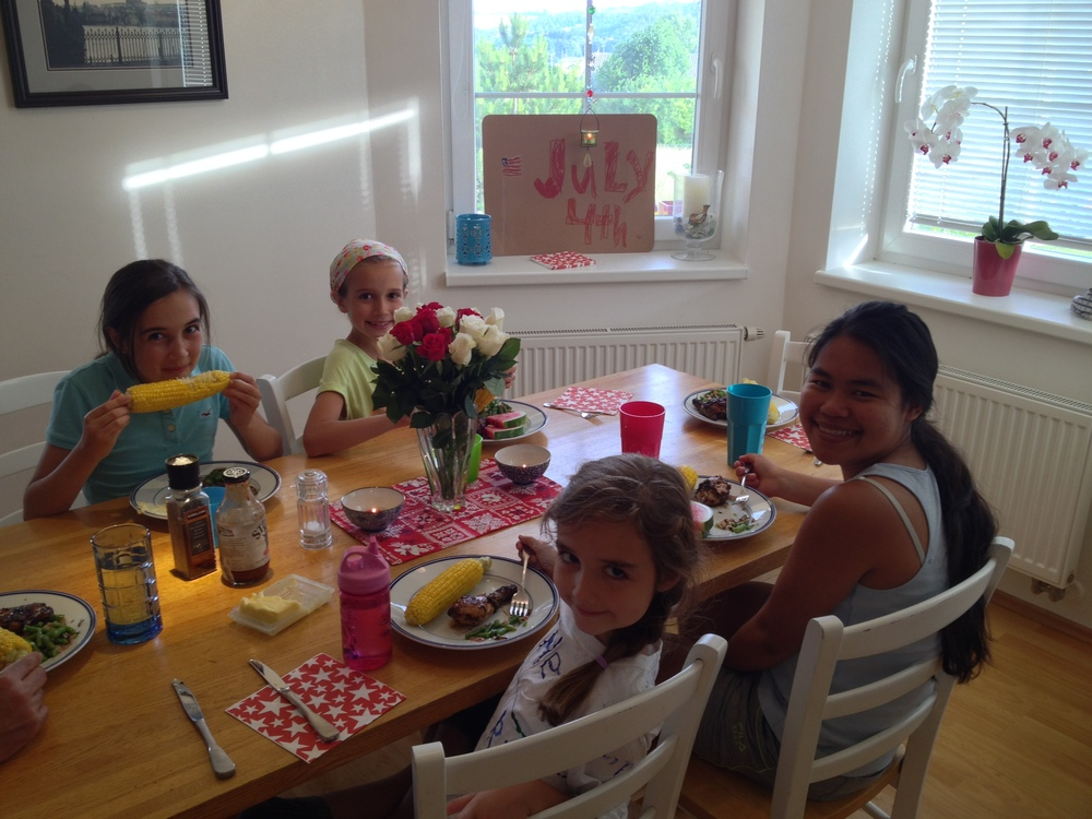 Thank God for these girls. Hannah's homemade decor is in the background. Today she asked Mark who invented July 4th. Guess I should do some homeschooling this summer.