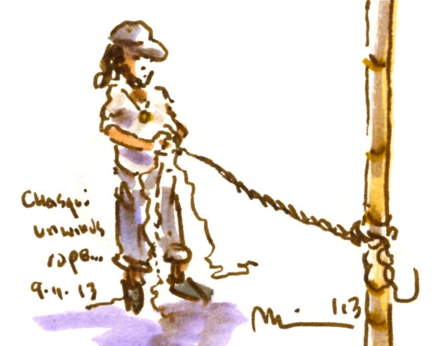 Chasqui unwinds rope.jpg