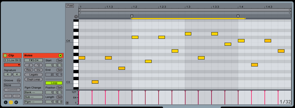 """Once you've recorded the MIDI output of your Arpeggiator you can """"Stretch Notes"""" to add more variation or fills to your pattern. Start by selecting the notes you want to stretch and """"Stretch Markers"""" will appear at the top of you MIDI clip."""