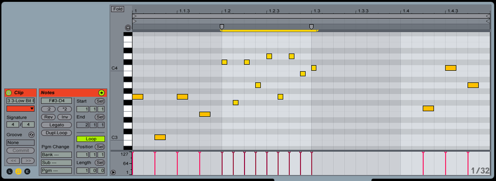 """After selecting the notes you want to stretch, click and drag a """"Stretch Marker"""" to the right or left to shrink or expand your MIDI notes. You can record the MIDI output onto a new MIDI track as you stretch notes back and forth."""