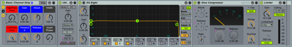 "The ""Basic Channel Strip"" consists of a Utility (Grey Macros), an EQ Eight (Red Macros), a Glue Compressor (Blue Macros) and a Limiter."