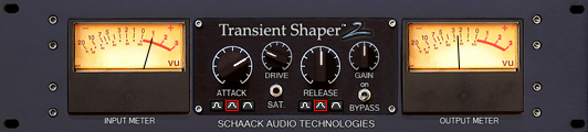 Schaak Transient Shaper is a dynamic processor that effects the attack and sustain portion of the sound signal and are capable of drastically enhancing or attenuating the each with pin point accuracy.