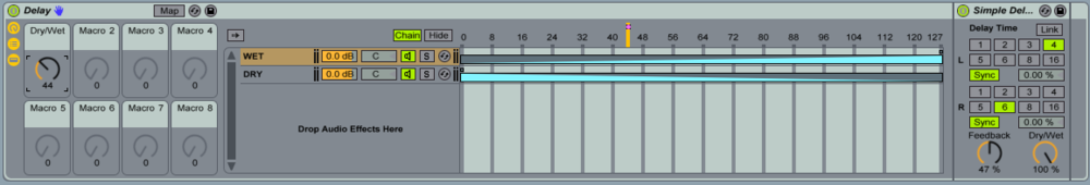 View of the Chain Window and how the zone editor can be used to create a Dry/Wet Knob by mapping the Chain Selector.