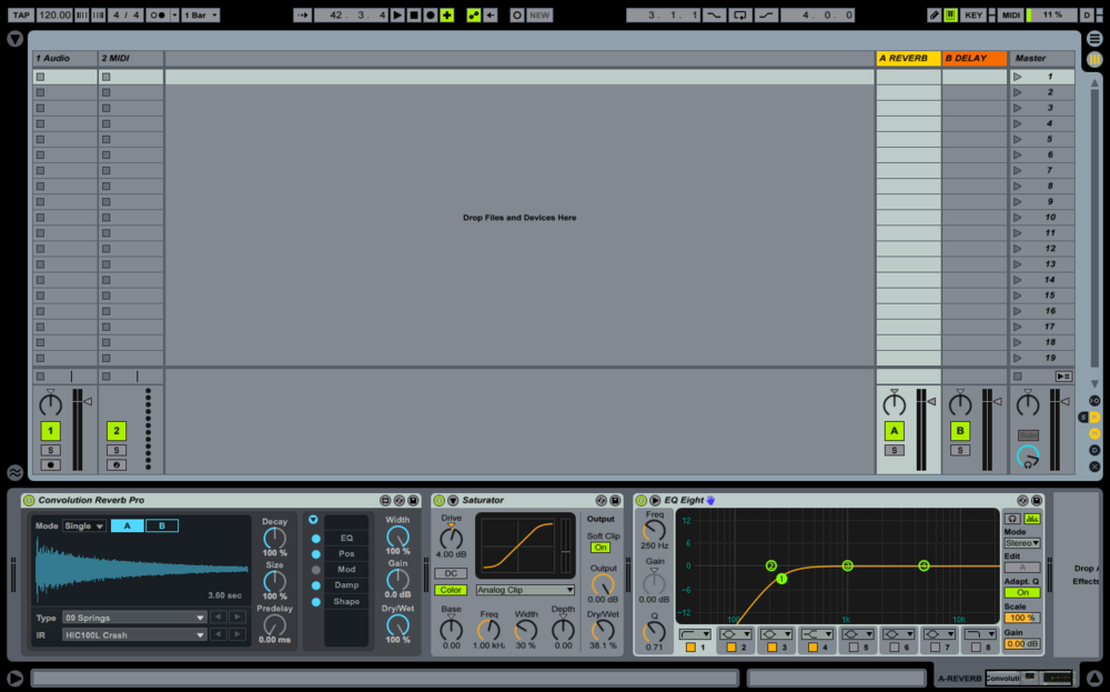 Example of a reverb return track in Ableton Live.