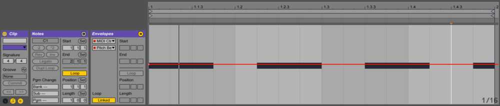 Add a break point to the beginning of all of your clips under MIDI Ctrl/Pitch Bend to avoid unwanted pitch changes to other clips.