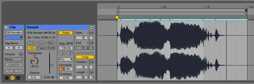 In this example the audio clip was pitched down by 24 semitones in complex pro warp mode then flatten to audio.
