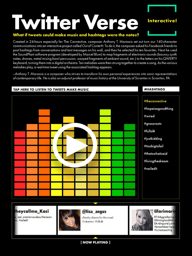 """Screen shot of Out of Conte#t  interactive page, featured in """"The Connective"""" issue of WIRED Magazine's Digital Issue"""