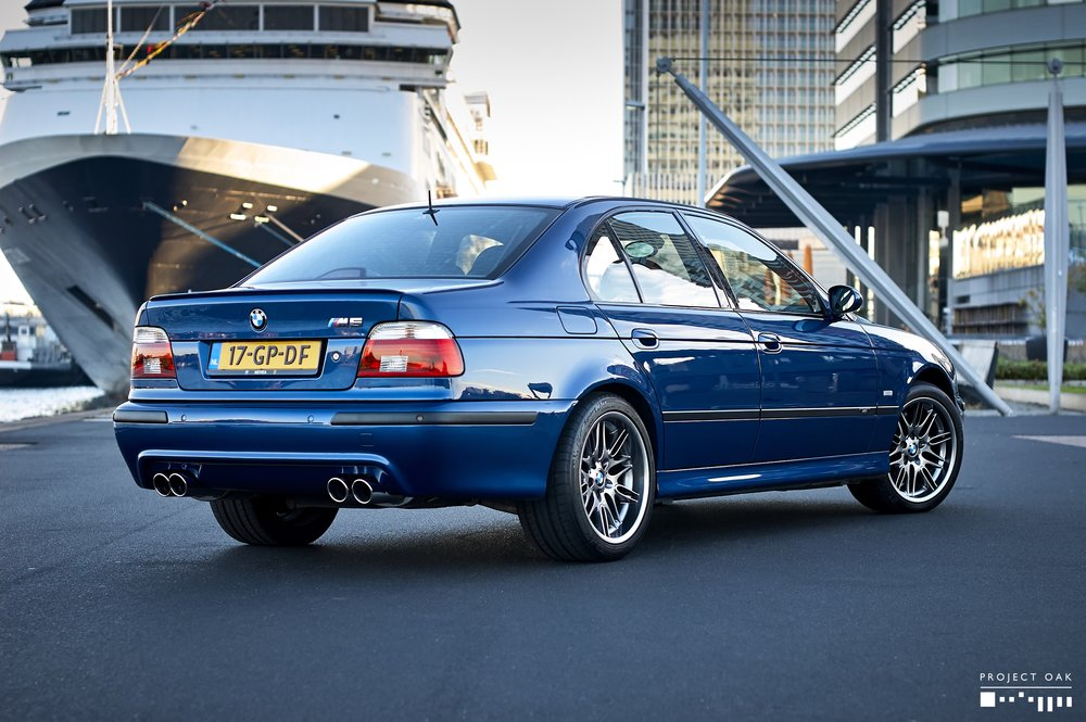 My Le Mans Blue M5, Sunrise near Erasmus Bridge, Rotterdam.