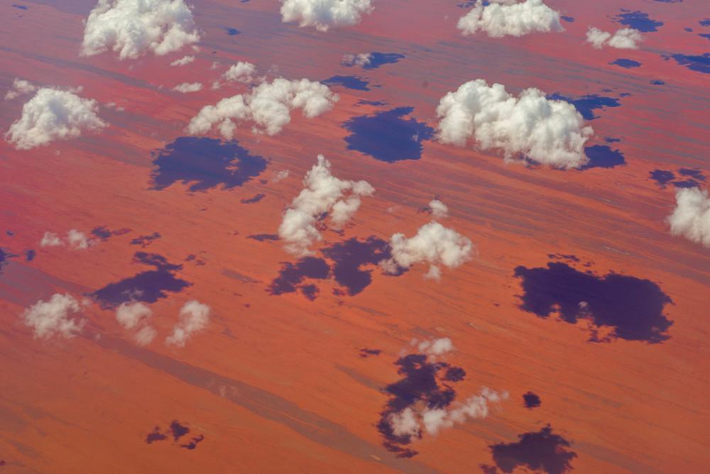 Flying over red desert in the middle of Australia