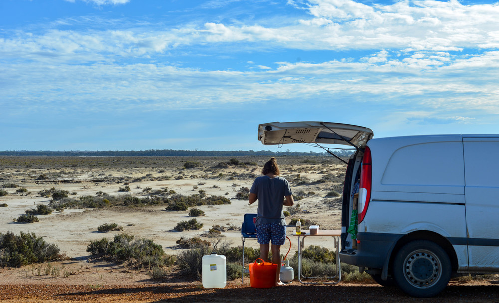 Breakfast on Lake King, Western Australia.