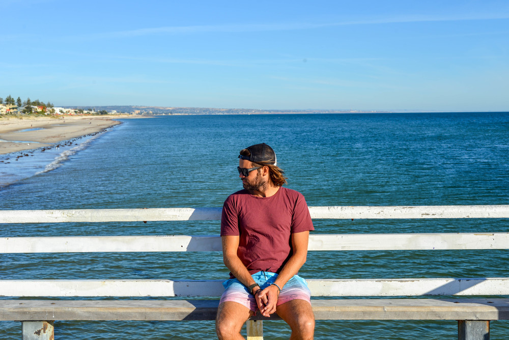 Chilling on a pier on the Adelaide coast, South Australia.