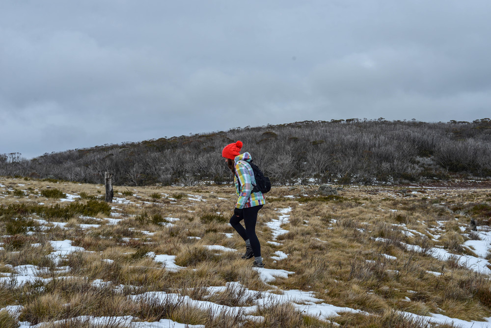 Hiking to Rainbow Lake in Kosciuszko National Park, New South Wales.
