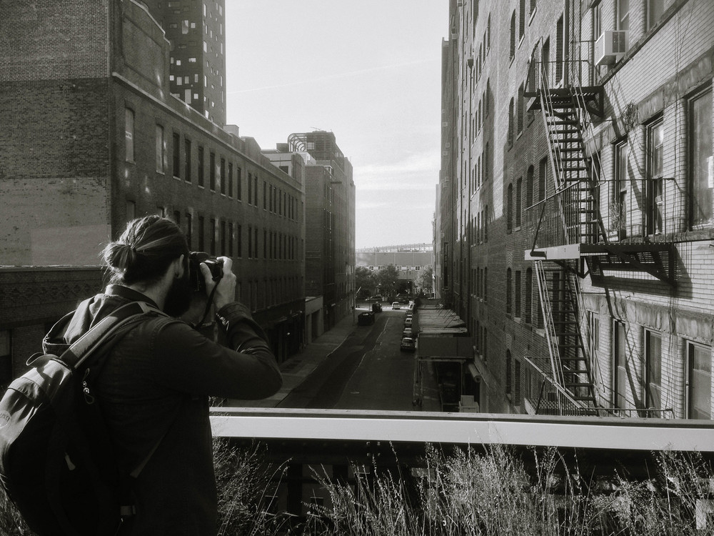Jonny documenting our walk on the High Line.