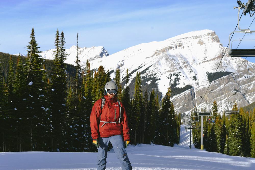 Jonny snowboarding.