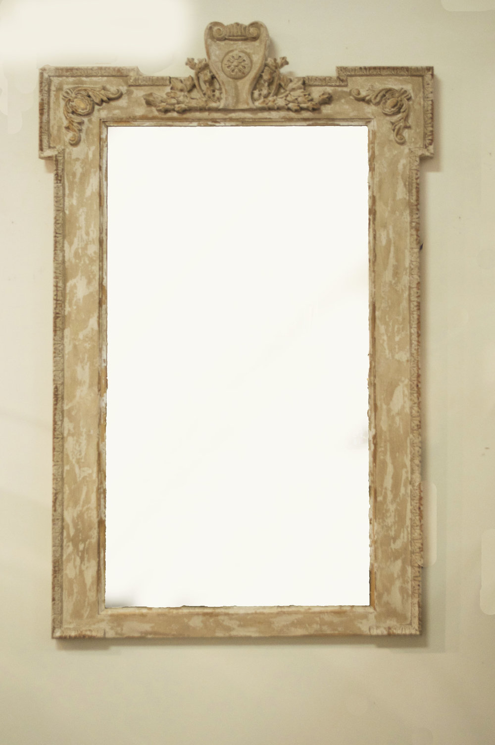 White Wooden Mirror # 12685