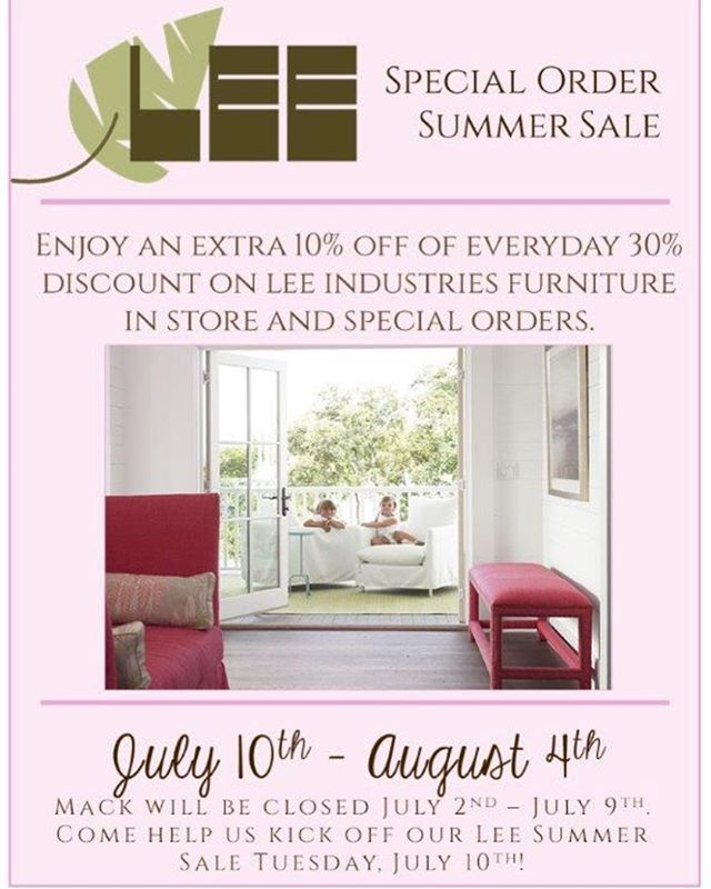 The moment everyone waits for... a LEE sale! Take advantage of our Special Order Summer Sale. Come help us kick off our sale on Tuesday, July 9th.