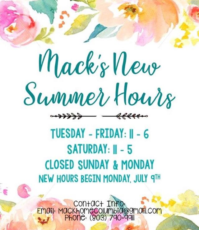 Check out our new summer hours beginning Monday, July 9th! 🌞