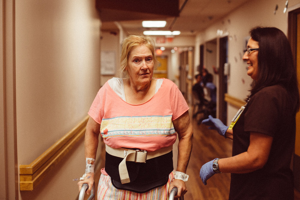 After a few days she was up and about. The recovery was slow and painful, but mom kept her spirits up and her sassy attitude kept the nursing staff entertained for the duration of our stay.  ;)